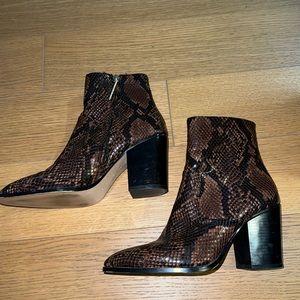 Brown snake skin booties